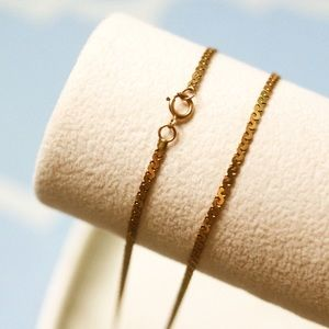 """Vintage 14K Solid Gold Chain Necklace 17.5"""""""